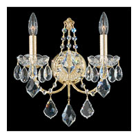 Schonbek Century 2 Light Wall Sconce in Gold and Clear Heritage Handcut Trim 1702-20