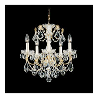 Schonbek Century 5 Light Chandelier in Gold and Clear Heritage Handcut Trim 1704-20