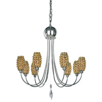 Schonbek Dionyx 8 Light Chandelier in Stainless Steel and Tortoise Shell Swarovski Elements Trim DI2123TOR