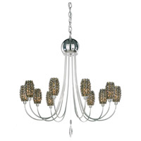 Schonbek Dionyx 10 Light Chandelier in Stainless Steel and Golden Teak Swarovski Elements Trim DI2527TK
