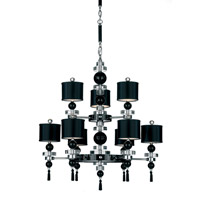 Schonbek Diva Home Furnishing 9 Light Chandelier in Silver and Cl/Bk Optic Trim 3859BLACK