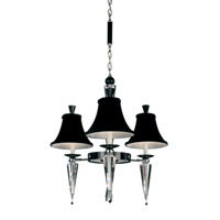 Schonbek Diva 3 Light Chandelier in Silver and Cl/Bk Optic Handcut Trim 7143BLACK
