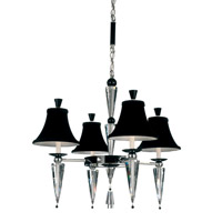Schonbek Diva 4 Light Chandelier in Silver and Cl/Bk Optic Handcut Trim 7144BLACK