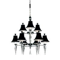 Schonbek Diva 9 Light Chandelier in Silver and Cl/Bk Optic Handcut Trim 7149BLACK