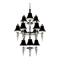 Schonbek Diva 12 Light Chandelier in Silver and Cl/Bk Optic Handcut Trim 7152BLACK