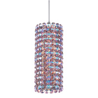 Schonbek Elements 1 Light Pendant in Stainless Steel and Strawberry Fields Swarovski Elements Trim EL0408STR