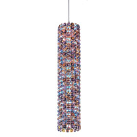 Schonbek Elements 1 Light Pendant in Stainless Steel and Spice Swarovski Elements Trim EL0416SPI