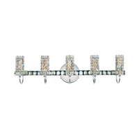 Schonbek Elements 5 Light Wall Sconce in Stainless Steel and Santorini Swarovski Elements Trim ELW2407SAN