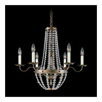 Schonbek Early American 6 Light Chandelier in Heirloom Bronze and Clear Legacy Collection Trim 5147-76
