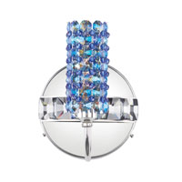 Schonbek Elements 1 Light Wall Sconce in Stainless Steel and Sapphire Swarovski Elements Trim ELW0506SAP