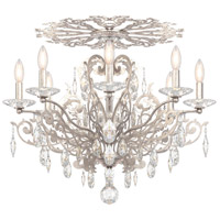 Schonbek FE7208N-48A Filigrae 8 Light Antique Silver Flush Mount Ceiling Light in Clear Spectra