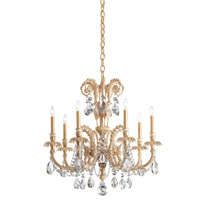 Schonbek Genzano 7 Light Chandelier in Parchment Gold and Spectra Crystal GE4707N-27A