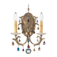 Genesis 2 Light 110V Wall Sconce in Bronze Gold with Clear Vintage Crystal