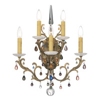 Schonbek Genesis 5 Light Wall Sconce in Bronze Gold and Color Mix Vintage W/Jewel Trim 9874