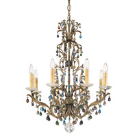 Genesis 8 Light 110V Chandelier in Bronze Gold with Clear Vintage Crystal