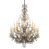 Genesis 28 Light 110V Chandelier in Bronze Gold with Clear Vintage Crystal