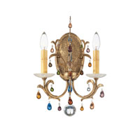 Schonbek Genesis 2 Light Wall Sconce in Bronze Gold and Color Mix Vintage W/Jewel Trim 9872