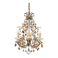 Schonbek Genesis 5 Light Chandelier in Bronze Gold and Color Mix Vintage W/Jewel Trim 9875