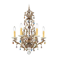 Schonbek Genesis 6 Light Chandelier in Bronze Gold and Color Mix Vintage W/Jewel Trim 9876