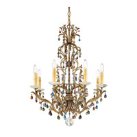 Schonbek Genesis 8 Light Chandelier in Bronze Gold and Color Mix Vintage W/Jewel Trim 9878
