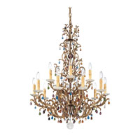 Schonbek Genesis 15 Light Chandelier in Bronze Gold and Color Mix Vintage W/Jewel Trim 9882