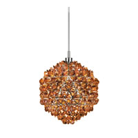 Schonbek Geode 1 Light Pendant in Stainless Steel and Cognac Swarovski Elements Trim GD0606COG