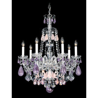 Schonbek Hamilton Rock Crystal 7 Light Chandelier in Silver and Amethyst & Rose Rock Crystal Trim 5536AM