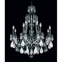 Schonbek Hamilton Rock Crystal 8 Light Chandelier in Wet Black and Jet Black Rock Crystal Trim 5537BK