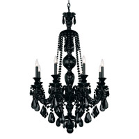 Schonbek Hamilton 8 Light Chandelier in Wet Black and Jet Black Heritage Handcut Trim 5707BK