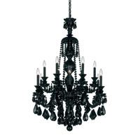 Schonbek Hamilton 12 Light Chandelier in Wet Black and Jet Black Heritage Handcut Trim 5708BK