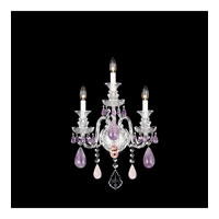 Schonbek Hamilton Rock Crystal 3 Light Wall Sconce in Silver and Amethyst & Rose Rock Crystal Trim 5503AM