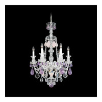 Schonbek Hamilton Rock Crystal 6 Light Chandelier in Silver and Amethyst & Rose Rock Crystal Trim 5505AM