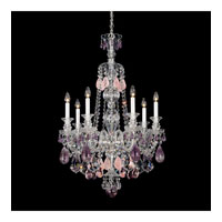 Schonbek Hamilton Rock Crystal 7 Light Chandelier in Silver and Amethyst & Rose Rock Crystal Trim 5506AM