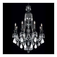 Schonbek Hamilton Rock Crystal 8 Light Chandelier in Wet Black and Jet Black Rock Crystal Trim 5507BK