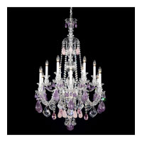 Schonbek Hamilton Rock Crystal 12 Light Chandelier in Silver and Amethyst & Rose Rock Crystal Trim 5508AM