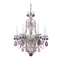 Schonbek Hamilton Rock Crystal 6 Light Chandelier in Silver and Amethyst & Rose Rock Crystal Trim 5535AM