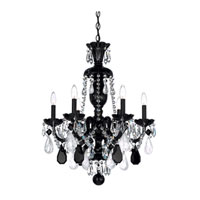 Schonbek Hamilton Rock Crystal 6 Light Chandelier in Wet Black and Jet Black Rock Crystal Trim 5535BK