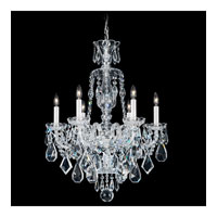 Schonbek Hamilton 6 Light Chandelier in Silver and Clear Heritage Handcut Trim 5735CL