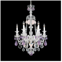 Hamilton 6 Light Silver Chandelier Ceiling Light in Amethyst And Rose Rock