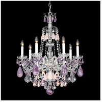 Hamilton 7 Light Silver Chandelier Ceiling Light in Amethyst And Rose Rock