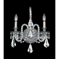 Schonbek Isabelle 2 Light Wall Sconce in Roman Silver and Silver Shade Swarovski Elements Colors Trim 6302-80SH photo thumbnail