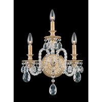 Schonbek Isabelle 3 Light Wall Sconce in Parchment Gold and Clear Optic Handcut Trim 6303-27O photo thumbnail