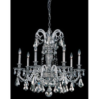 Schonbek Isabelle 7 Light Chandelier in Roman Silver and Silver Shade Swarovski Elements Colors Trim 6307-80SH