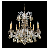 Schonbek Isabelle 9 Light Chandelier in Florentine Bronze and Golden Shadow Swarovski Elements Colors Trim 6309-83GS