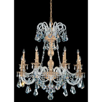 Schonbek Isabelle 12 Light Chandelier in Parchment Gold and Crystal Swarovski Elements Trim 6312-27S