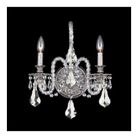 Schonbek Isabelle 2 Light Wall Sconce in Roman Silver and Silver Shade Swarovski Elements Colors Trim 6302-80SH
