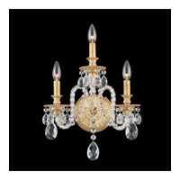 Schonbek Isabelle 3 Light Wall Sconce in Parchment Gold and Clear Optic Handcut Trim 6303-27O
