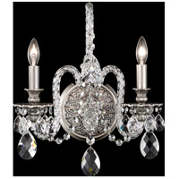 Isabelle 2 Light 6 inch Roman Silver Wall Sconce Wall Light in Clear Optic Handcut