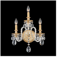 Isabelle 3 Light 7 inch Parchment Gold Wall Sconce Wall Light in Clear Optic Handcut