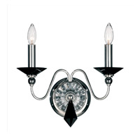 Schonbek Jasmine 2 Light Wall Sconce in Silver and Jet Black Optic Handcut Colors Trim 9672-40BK